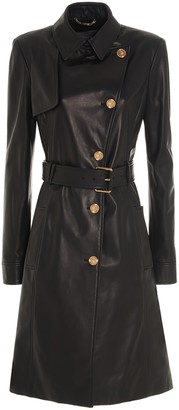 Versace Medusa Buttons Leather Trench Coat