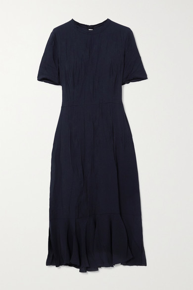 Marni Crinkled-cady Midi Dress - Navy