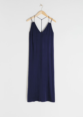 And other stories Satin Midi Slip Dress
