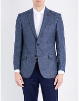 Richard James Houndstooth-pattern Linen And Wool-blend Jacket