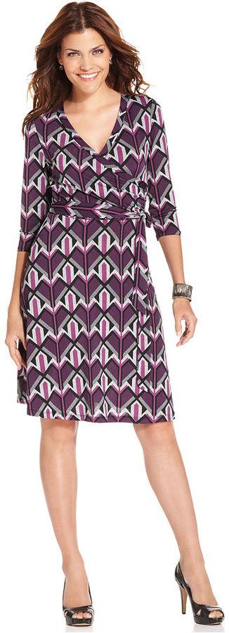 Amy Byer Petite Dress, Three-Quarter-Sleeve Geometric-Print Wrap