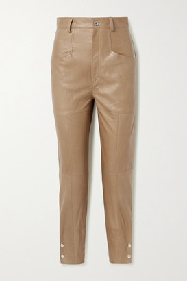 Isabel Marant Xiamao Leather Tapered Pants - Tan