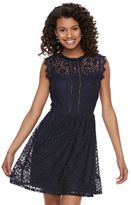 Speechless Juniors' Lace Illusion Skater Dress