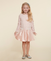 Dollie & Me Blush Sequin-Belt Skater Dress & Doll Dress - Girls