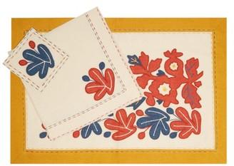 Vita Kin Floral-applique Linen Dining Set - Yellow Multi