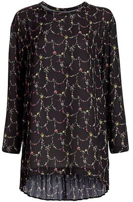 Junya Watanabe Pleated Floral High-Low Blouse