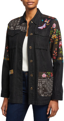 Johnny Was Patch Work Embroidered Military Jacket