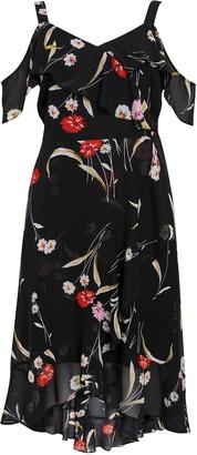 Evans Black Floral Print Cold Shoulder Midi Dress