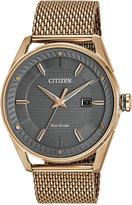 Citizen Men's Drive Rose Gold-Tone Stainless Steel Mesh Bracelet Watch 42mm BM6983-51H