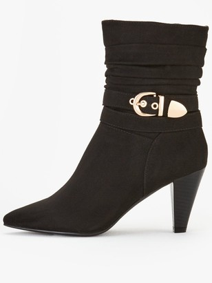 Very Salut Cone Heel Point Strappy Calf Boots - Black