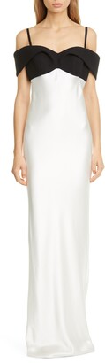 Brandon Maxwell Contrast Cold Shoulder Bodice Sheath Gown