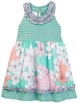 Iris & Ivy Striped Knit To Floral Dress (Toddler & Little Girls)