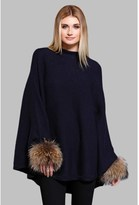 DOLCE CABO Natural Fur Cuff Knit Poncho.