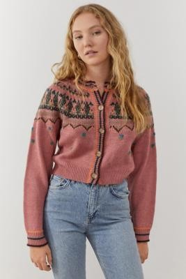 Urban Outfitters Fairisle Cardigan - Pink XS at