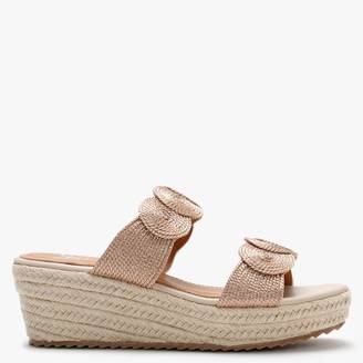 Df By Daniel Yvette Pink Rope Espadrille Wedge Sandals