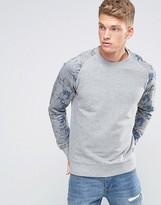 Jack and Jones Originals Sweatshirt With Floral Print Sleeves