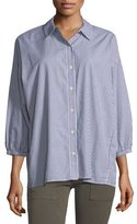 The Great The Easy Striped Button-Front Cotton Shirt
