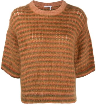 Chloé Brushed Striped Crew Neck Jumper