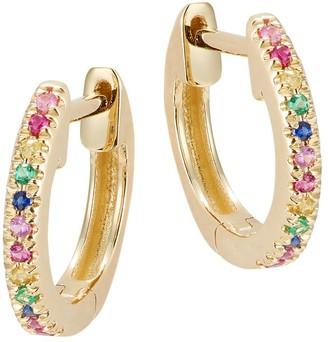 Saks Fifth Avenue 14K Yellow Gold Colored Diamond Hoop Earrings