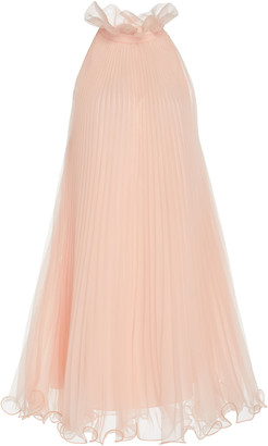 Monique Lhuillier Pleated Chiffon Mini Dress
