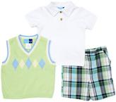 Good Lad Green Argyle Sweater Vest & Blue Plaid Shorts Set - Infant