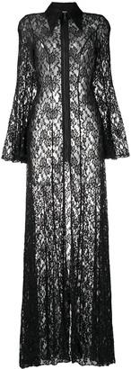 Natasha Zinko Floral-Lace Zip-Up Maxi Dress