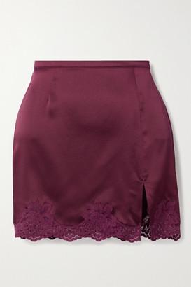 Fleur Du Mal James Lace-trimmed Silk-satin Mini Skirt - Burgundy