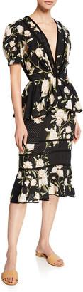 Johanna Ortiz Floral Print Eyelet Dress