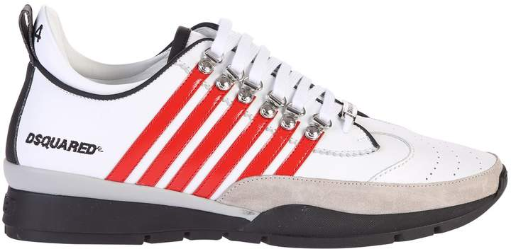DSQUARED2 White And Red Striped Sneakers