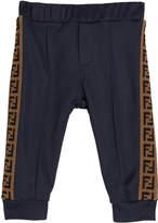 Fendi Boy's FF Logo Trim Track Pants, Size 12-24 Months