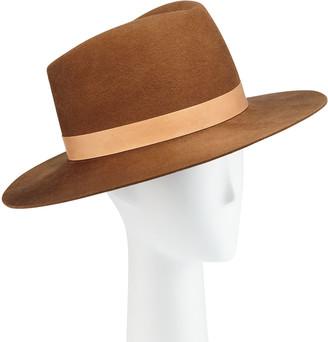 Janessa Leone Stewart Wool Fedora Hat w/ Leather Hat Band