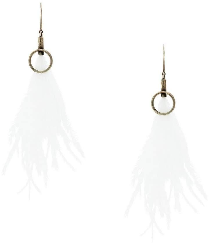 Ann Demeulemeester long feather earrings