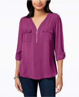 NY Collection Petite Zip-Front Utility Top