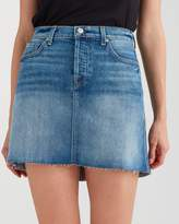 7 For All Mankind High Low Mini Skirt With Destroy In Canyon Ranch