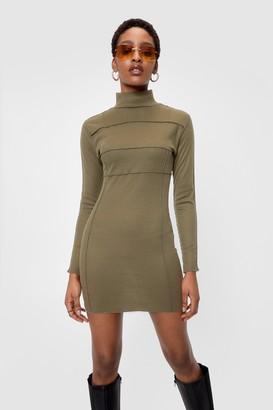 Nasty Gal Womens Ribbed High Neck Bodycon Mini Dress - Green - 6