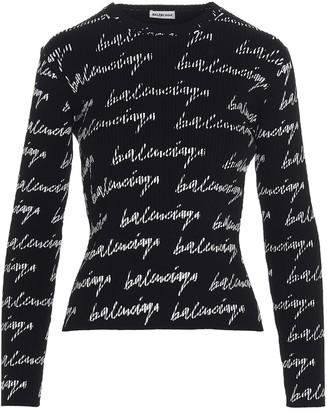 Balenciaga Allover Signature Logo Sweater