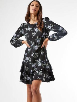 Dorothy Perkins Floral Jersey Tiered Skirt Mini Dress - Black