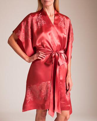 Carine Gilson Roses Silk Satin Kaftan Kimono
