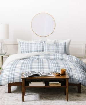 Deny Designs Little Arrow Design Co Winter Plaid Blue Duvet Set Bedding