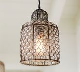 Pottery Barn Harlowe Wire & Glass Indoor/Outdoor Pendant