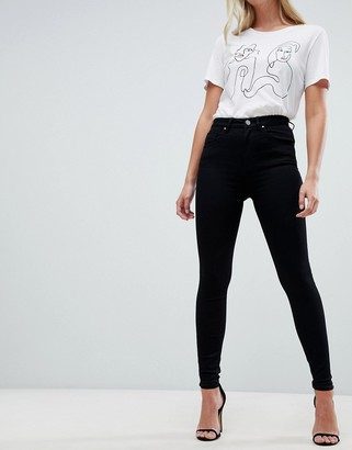 Asos DESIGN 'Sculpt me' high waisted premium jeans in clean black