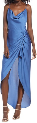 Bellevue The Label Lana Ruched High/Low Satin Dress