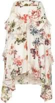 River Island Womens White floral print frill midi skirt