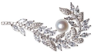 Macy's Cultured Freshwater Pearl (7mm) & Cubic Zirconia Feather Pin in Sterling Silver