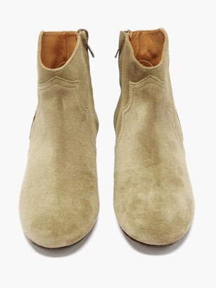 Isabel Marant Dicker Suede Western Ankle Boots - Beige