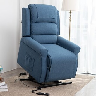 Haddox Power - Push Button Lift Assist Recliner Red Barrel Studio Upholstery Color: Light Brown