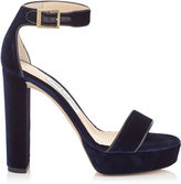 Jimmy Choo HOLLY 120 Navy Velvet Platform Sandals