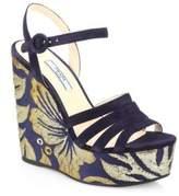 Prada Brocade Suede Wedge Sandals