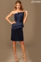 Jovani Gorgeous Asymmetrical Neckline Peplum Bow Waistband Long Gown 94172