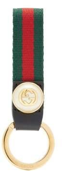 Gucci GG-monogram Web-striped Key Ring - Womens - Red Multi